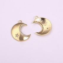 Aobei Pearl, 3 PCS from the Sale, 18K Gold-Plated Moon-Shaped Micro-Inlaid Star Zircon Pendant for Jewelry Making, Jewelry Findings, DIY Jewelry Material, ETS-K1290
