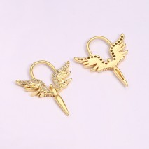 Aobei Pearl, 4 PCS from the Sale, 18K Gold-Plated Guardian Angel Micro-Inlaid Zircon Making Pendant for Jewelry Making, Jewelry Findings, DIY Jewelry Material, ETS-K1292