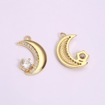 Aobei Pearl, 3 PCS from the Sale, 18K Gold Plated Half Moon and Star Gemstone Charm for Jewelry Making, Jewelry Findings, DIY Jewelry Material, ETS-K1297