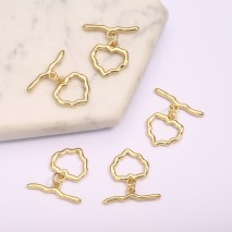 Aobei Pearl, 5 PCS from the Sale, 18K Gold-Plated Love Heart Shape With Wavy Pendant  for Jewelry Making, Jewelry Findings, DIY Jewelry Material, ETS-K1298