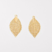 Aobei Pearl, 6 PCS from the Sale, 18k Gold-Plated Golden Filigree Leaf Pendant, Textured Leaf Charm for Jewelry Making, Jewelry Findings, DIY Jewelry Material, ETS-K1323