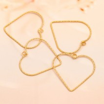 Aobei Pearl, 10 PCS from the Sale, 18K Gold-Plated Hammer Diamond Love Heart-Shaped Hollow Heart-Shaped Pendant for Jewelry Making, Jewelry Findings, DIY Jewelry Material, ETS-K1328