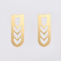 Aobei Pearl, 6 PCS from the Sale,18K Gold-Plated Rectangular and Semi-Circular Jewelry Making Pendants, With a Hollow Heart Shape in the Middle,Exquisite Small Pendant,Jewelry Findings, DIY Jewelry Material, ETS-K1339