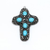 Aobei Pearl, 2 Pieces from the Sale, Cross Pendant made of Turquoise and Hand-embed Diamond, Jewelry Findings, ETS-K236