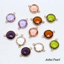Aobei Pearl, 10 Pieces from the Sale, Handmade Jewelry Material made of Sectioned Crystal with Plated Gold Accessory, Jewelry Findings, ETS-K238