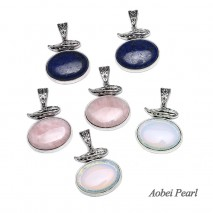 Aobei Pearl, 1 Piece from the Sale, Handmade Pendant made of Natural Stone with Alloy Accessory, Jewelry Findings, Necklace Pendant, ETS-K241