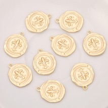 Aobei Pearl, 5 PCS from the Sale, 18K Gold Plated Flower Disc Charm for Jewelry Making, Jewelry Findings, DIY Jewelry Material, ETS-K283