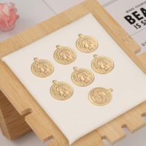 Aobei Pearl, 12 PCS from the Sale, 18K Gold Plated Portrait Disc Charm for Jewelry Making, Jewelry Findings, DIY Jewelry Material, ETS-K289