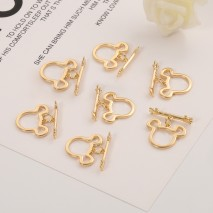 Aobei Pearl, 5 Pairs from the Sale, 18K Gold Mickey Mouse Shape OT Toggle Clasp for Jewelry Making, Jewelry Findings, DIY Jewelry Material, ETS-K294