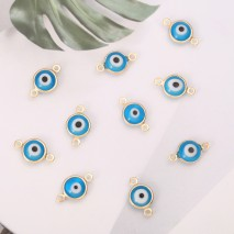 Aobei Pearl, 20 PCS from the Sale, 18K Gold Plated Round Evil Eye Charm for Jewelry Making, Jewelry Findings, DIY Jewelry Material, ETS-K302