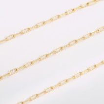 Aobei Pearl, 2 Meters from the Sale, 18K Gold Plated Oval Chain for Jewelry Making, Jewelry Findings, DIY Jewelry Material, ETS-K304