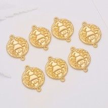Aobei Pearl, 10 PCS from the Sale, 18K Gold Plated Cancer Disc Charm for Jewelry Making, Jewelry Findings, DIY Jewelry Material, ETS-K306