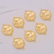 Aobei Pearl, 10 PCS from the Sale, 18K Gold Plated Leo Disc Charm for Jewelry Making, Jewelry Findings, DIY Jewelry Material, ETS-K308