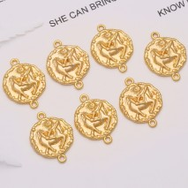 Aobei Pearl, 10 PCS from the Sale, 18K Gold Plated Sagittarius Disc Charm for Jewelry Making, Jewelry Findings, DIY Jewelry Material, ETS-K309