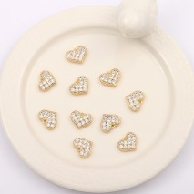 Aobei Pearl, 5 PCS from the Sale, 18K Gold Plated CZ Heart Charm for Jewelry Making, Jewelry Findings, DIY Jewelry Material, ETS-K316