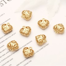Aobei Pearl, 10 PCS from the Sale, 18K Gold Plated Filligree 3D Hollow Heart Charm for Jewelry Making, Jewelry Findings, DIY Jewelry Material, ETS-K365
