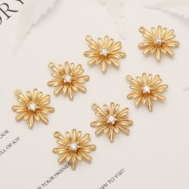 Aobei Pearl, 5 PCS from the Sale, 18K Gold Plated CZ Flower Charm for Jewelry Making, Jewelry Findings, DIY Jewelry Material, ETS-K367