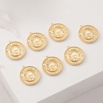 Aobei Pearl, 5 PCS from the Sale, 18K Gold Plated Round Coin Disc Roman Medallion Charm for Jewelry Making, Jewelry Findings, DIY Jewelry Material, ETS-K376