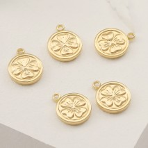 Aobei Pearl ,6 PCS From The Sale,18K Gold Plated Flower Medallion Pendant ,Dangle Charm Pendant For Jewelry Making, Jewelry Findings, DIY Jewelry Material, Making Supplies ETS-K408