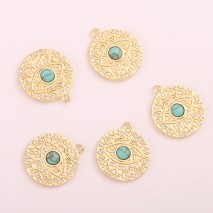 Aobei Pearl ,2 PCS From The Sale, 18K Gold Plated Evil Eye Turquoise Pendant ,Dangle Charm Pendant For Jewelry Making, Jewelry Findings, DIY Jewelry Material, Making Supplies ETS-K410