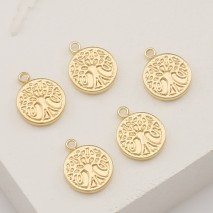 Aobei Pearl ,6 PCS from the Sale, 18K Gold Plated Life Tree Medallion Pendant Charms For jewelry making, Jewelry Findings, DIY Jewelry Material, fashion accessories ETS-K411