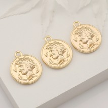 Aobei Pearl ,6 PCS From The Sale, 18K Gold Plated Greek Medallion Pendant ,Dangle Charm Pendant For Jewelry Making,JewelryFindings, DIY Jewelry Material, Making Supplies ETS-K412