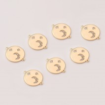 Aobei Pearl ,4 PCS From The Sale, 18K Gold Plated Moon And Star Connectors  Pendant ,Dangle Charm Pendant For Jewelry Making, Jewelry Findings, DIY Jewelry Material, Making Supplies ETS-K417
