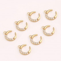 Aobei Pearl ,5 PCS From The Sale, 18K Gold Plated Moon  Charm Pendant ,Dangle Pendant For Jewelry Making, Jewelry Findings, DIY Jewelry Material, Making Supplies ETS-K438