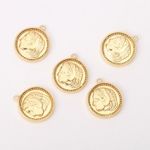 Aobei Pearl ,5 PCS From The Sale,18K Gold Plated Roman Greek Coin MedallionCharm Pendant ,Dangle Pendant For Jewelry Making, Jewelry Findings, DIYJewelry Material, Making Supplies ETS-K442