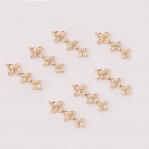 Aobei Pearl ,4 PCS From The Sale,Three connected golden flower pendants,18K Gold Plated Dangle Pendant For Jewelry Making,DIY Jewelry Material, ETS-K450