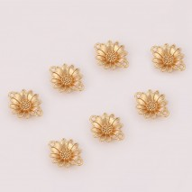 Aobei Pearl ,6 PCS From The Sale, 18K Gold Plated Sunflower Connector Pendants,Dangle Pendant For Jewelry Making, Jewelry Findings, DIY Jewelry Material, Making Supplies ETS-K451