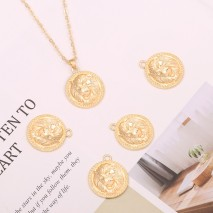 Aobei Pearl ,4 PCS From The Sale, 18K Gold Plated 3D Lion Medallion Pendants,Dangle Pendant For Jewelry Making, Jewelry Findings, DIY Jewelry Material, Making Supplies ETS-K453