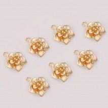 Aobei Pearl ,10 PCS From The Sale, 18K Gold Plated Flower Pendants,Dangle Pendant For Jewelry Making, Jewelry Findings, DIY Jewelry Material, Making Supplies ETS-K454