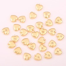 Aobei Pearl ,5 PCS From The Sale, 18K Gold Plated 3D Heart Pendants,Dangle Pendant For Jewelry Making, Jewelry Findings, DIY Jewelry Material, Making Supplies ETS-K455