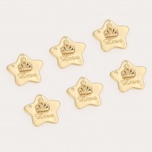 Aobei Pearl ,6PCS From The Sale, 18K Gold Plated Crown LOVE Star Dangle Pendant For Jewelry Making, Jewelry Findings, DIY Jewelry Material, Making Supplies ETS-K481