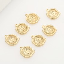 Aobei Pearl ,5PCS From The Sale, 18K Gold Plated Medallion Charm Pendant For Jewelry Making, Jewelry Findings, DIY Jewelry Material, Making Supplies ETS-K487