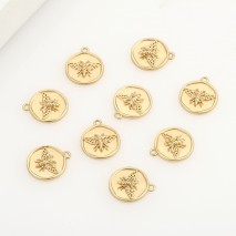 Aobei Pearl ,5PCS From The Sale, 18K Gold Plated Butterfly Medallion Charm Pendant For Jewelry Making, Jewelry Findings, DIY Jewelry Material, Making Supplies ETS-K489