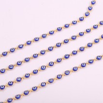 "Aobei Pearl ,39"" Blue Demon Eye Chain,18K Gold Plated chain For Jewelry Making, Jewelry Findings, DIY Jewelry Material, Making Supplies ETS-K508"