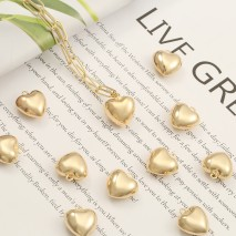Aobei Pearl, 5 PCS from the Sale, 18K Gold Love Heart Charm for Jewelry Making, Jewelry Findings, DIY Jewelry Material, ETS-K532