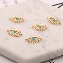 Aobei Pearl, 4 PCS from the Sale, 18K Gold Evil Eye Charm for Jewelry Making, Jewelry Findings, DIY Jewelry Material, ETS-K556