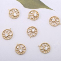 Aobei Pearl, 6 PCS from the Sale, 18K Gold Cubic Zirconia Disc Charm for Jewelry Making, Jewelry Findings, DIY Jewelry Material, ETS-K580
