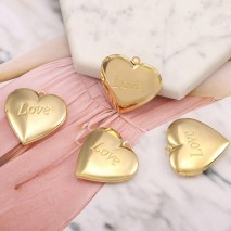"Aobei Pearl, 4 PCS from the Sale, 18K Gold Engraved ""Love"" Heart Shape Locket Cage Charm for Jewelry Making, Jewelry Findings, DIY Jewelry Material, ETS-K601"