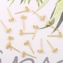 Aobei Pearl, 26 PCS (13 Pairs) from the Sale, 18k Gold 2mm Ball Stud Earrings with 1.5mm Hole, 14*4mm Shiny Gold Ball Earrings, ETS-K602