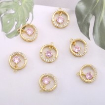 Aobei Pearl, 4 PCS for sale, 18K gold-plated round hollow pink gemstone ornaments for jewelry making, jewelry discovery, DIY jewelry material, ETS-K605