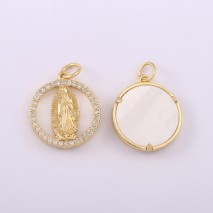 Aobei Pearl, 2 pieces, 18k gold-plated round pendant, charm pendant for jewelry making, jewelry discovery, DIY jewelry material.ETS-K609