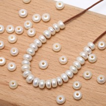 Aobei Pearl, 30 PCS from the Sale, 9-10 mm White Button Freshwater Pearls with 2.5 mm Large Hole, Loose Pearls fro Jewelry Making, Necklace Material, ETS-L0068