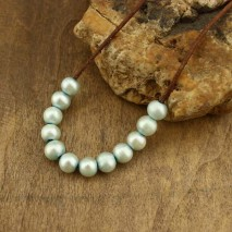 Aobei Pearl, 10 Pieces from the Sale, 10-11 mm Diameter Loose Potato Freshwater Pearl with 2.5 mm Large Hole in Light Lake Blue Color, ETS-L0074