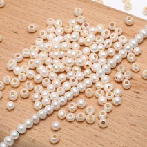 Aobei Pearl, 25 Pieces from the Sale, 5-6 mm Diameter White Potato Freshwater Pearl with 2.5 mm Large Hole, ETS-L0077