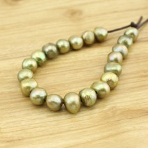 10 pearls green - 12-13 mm baroque pearls - 2.5 mm large hole - Natural loose pearls - Freshwater loose pearls - Necklace pearls - L0141