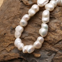 Aobei Pearl, 14-16 mm White Baroque Loose Pearls, A String (40 cm and about 21 Pieces) from the Sale, ETS-Z217